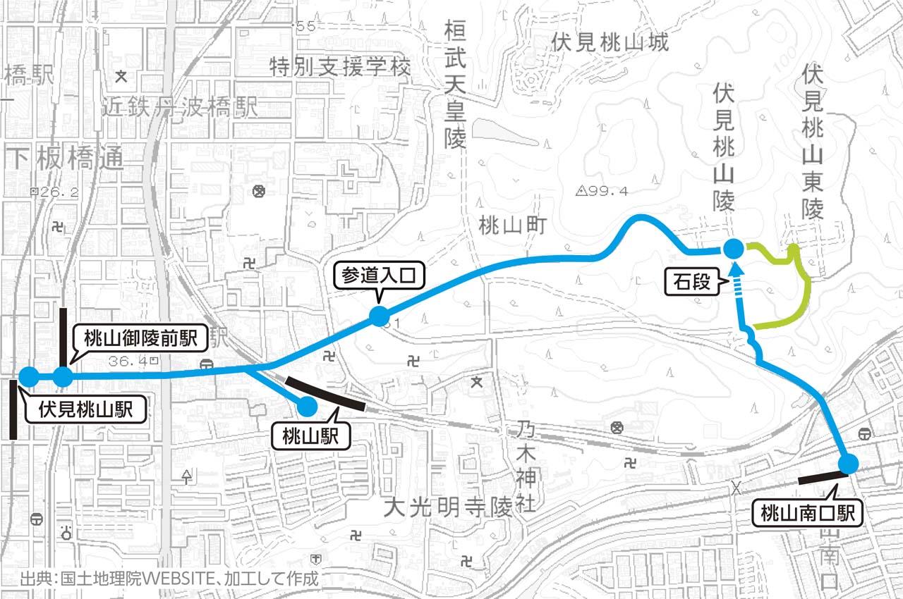 伏見桃山陵おすすめ片道コース